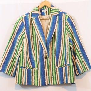 Coldwater Creek Striped Cotton Woven Blazer Jacket